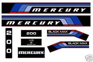 MERCURY-MARINE-200-hp-V6-DECALS-MERC-BLACK-MAX-150
