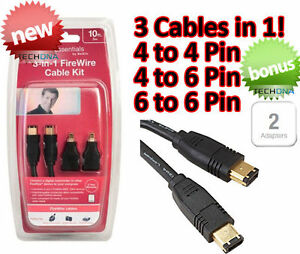 3m FireWire 400 6-Pin to 6-Pin Cable w/ 4-Pin Adapters Kit DV ...