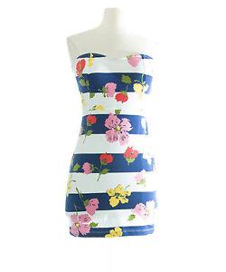 TOPSHOP-PETITE-Women-039-s-White-Multi-Floral-Strapless-Dress-26D72Y-US-Size-10-NEW