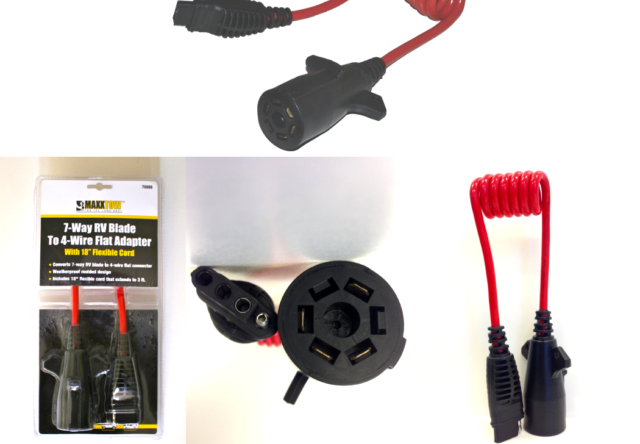 Trailer Plug Adaptor 7way Round To 4way Flat Weatherproof Cord Extension 36 Inch For Sale Online