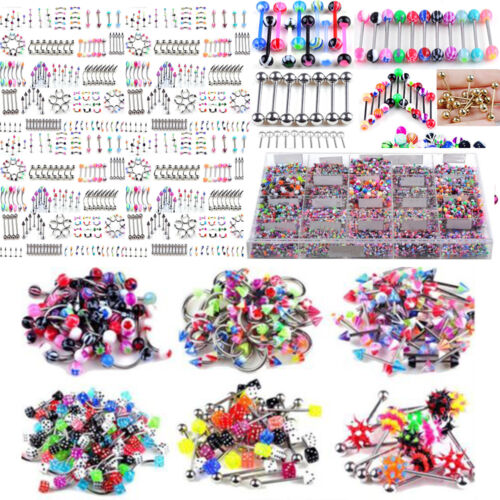 Wholesale 105pcs Eyebrow Navel Belly Tongue Nose Piercing Bar Ring Body Jewelry