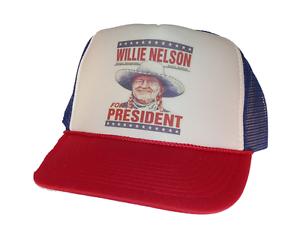6efd63da3 Willie Nelson for President hat Trucker Hat Mesh Hat red white blue ...