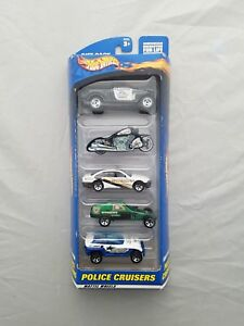 2000-Hot-Wheels-Police-Cruisers-5-Car-Gift-Pack-1-64-Diecast-NIP-Collectible