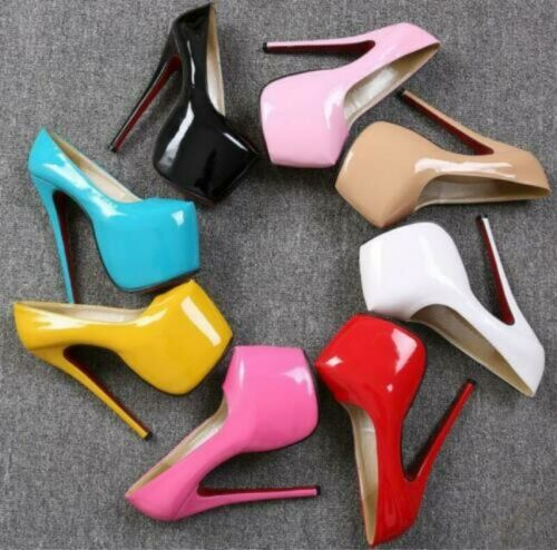 Womens Round Toe Patent Leather Stiletto Slip On Pumps Shoes High Heel Nightclub