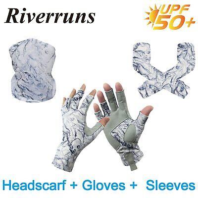Sun Protection Fingerless Fishing Gloves and Headscarves F Riverruns UPF 50