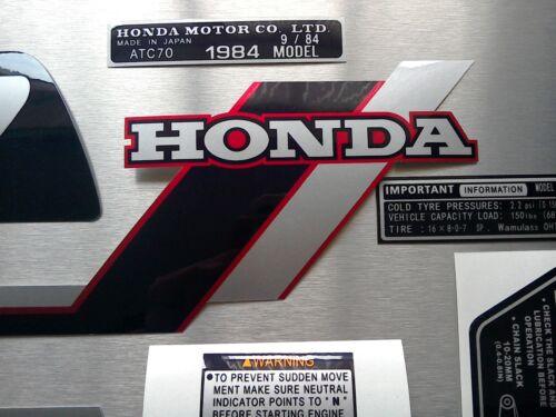 ATC 70 Custom Stickers Set Tank Warning Advice Vintage Trike 1984 Sticker Honda