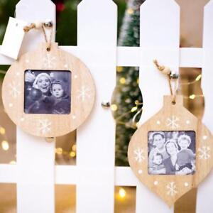 Diy Photo Frame Christmas Wood Tree Ornaments Xmas Hanging Pendant