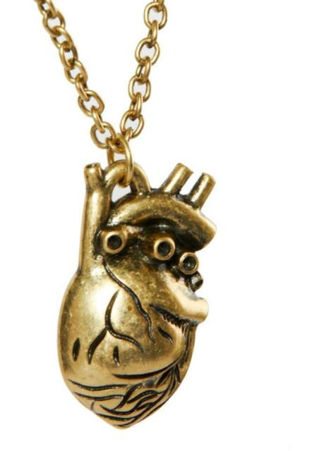 GO US New Punk Gothic Human Anatomical Heart Small Pendant Necklace