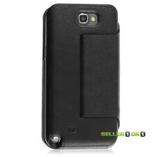 Zilu Milano Battery Recharge Case for Galaxy NOTE 2 II Leather Folio Black Cover