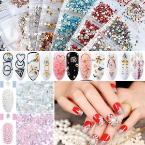 Nail-Art-Rhinestones-Flat-Back-Glitter-Crystal-Gems-3D-Tips-Colorful-Decoration