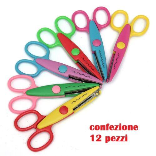 cc 12 Forbici Decorative Vari Tagli Ondulati ZigZag Colorate Bambini Scuola moc
