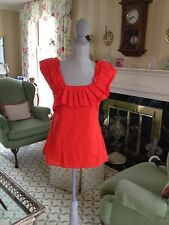 Anthropologie Yoana Baraschi Orange Ruffle Shirt Top Size 6