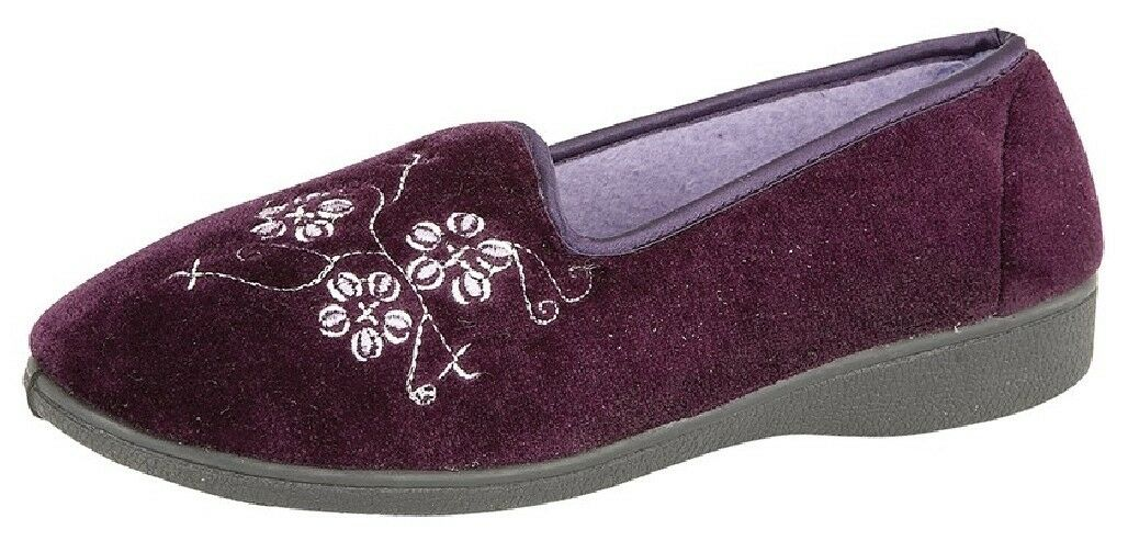Laides Zedzzz JENNY Embroidered Purple Textile Tab Full Slipper Purple Embroidered Velour fba8ee