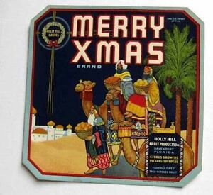 Rare 1920 Merry Xmas Christmas Three Wise Men Florida Fruit Crate Label