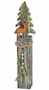 Baum Und Elch Auf Holzpfahl Dekosäule 16838w Weihnachtsdeko