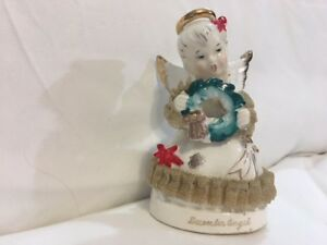 Vintage-ART-Japan-034-December-034-Angel-Figurine-w-Christmas-Holly-and-Lace-Rare