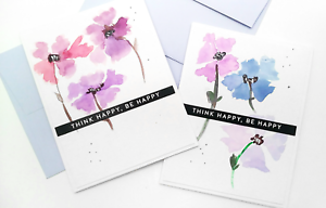 Handmade Greeting Card Think Happy Be Happy Encouragement Watercolor Flowers A2