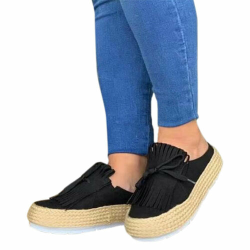 Womens Slip On Flats Loafers Casual Comfy Work Pumps Platform Wedges Shoes Size