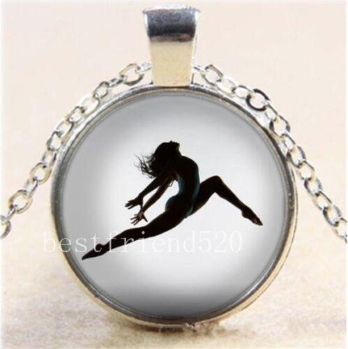 Ballet dancer Pose Cabochon Glass Tibet Silver Chain Pendant Necklace
