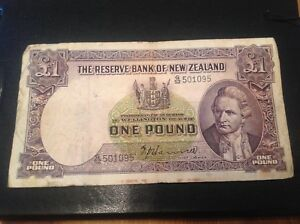1 Nouvelle-Zélande Pound Billet Signature Hanna-afficher le titre d`origine