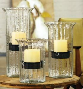 Image Is Loading Ribbed Glass Hurricane Candle Holder Set Candleholder Rustic