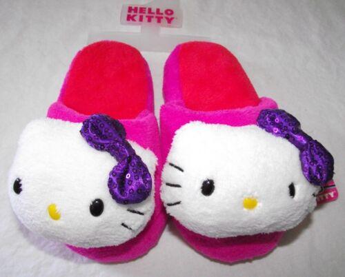 Hello Kitty Slippers Girls Pink White Purple Fuzzy Plush Size 11 12 13 1 S M New