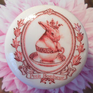 Petite Bonheur FRENCH BUNNY ceramic knob NURSERY child bedroom TEACUP pull PINK