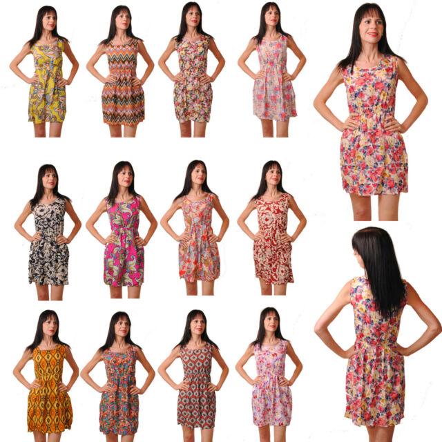 Chiffon Strandkleid Sommerkleid Minikleid Kleid Boho Bohemian Blumen 32 34 36 38