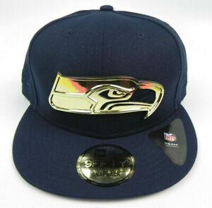 SEATTLE-SEAHAWKS-NFL-NEW-ERA-9FIFTY-NAVY-GOLD-METAL-BADGE-SNAPBACK-HAT-CAP-NEW