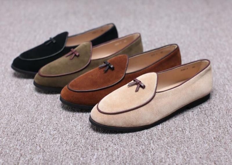Scarpe casual da uomo  uomo Leather Slippers Loafers Slip on Flats With Bowtie Belgian Dress Shoes B332