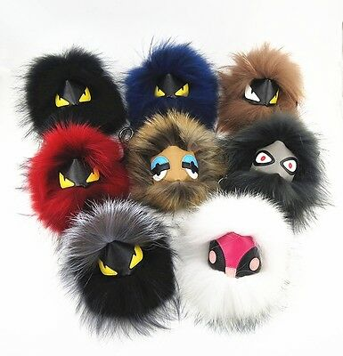100% Genuine Fox fur Leather Monster Pom Doll Ball keychain Bag bug car  Charm 8b0dfd42b3