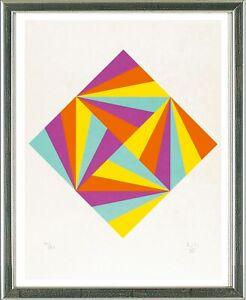 Max-Bill-1908-1994-Rhombus-violett-orange-gelb-tuerkis-1988-signiert