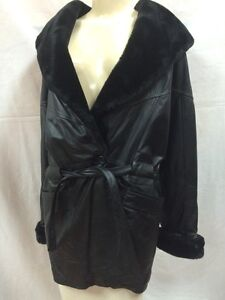 a9c362c3042 Leather Coat - Donna Pelle - Hooded - Black - Synthetic Fur Collar ...