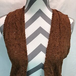 Natalie Martin Open Front Cardigan Fringed Buttery Soft Suede Vest Small HHH10