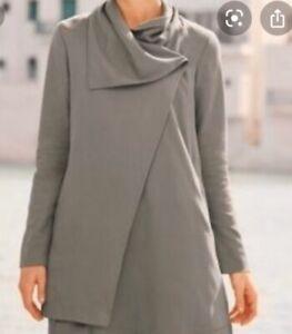 Garnet-Hill-asymmetrical-Twill-Draped-Jacket-Coat-tan-brown-wrap-lined-size-10