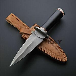 Custom Handmade Damascus Steel Blade Warrior Dagger Knife, Bull Horn Handle