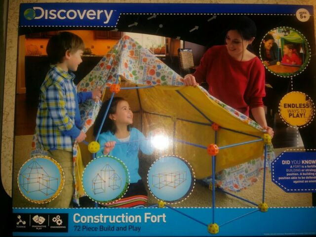 Children Construction Fort Discovery Kids 72 Piece Build And Play
