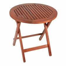 Acacia Wood Outdoor Summer Folding Table Round Coffee Side Patio Garden Tray NEW