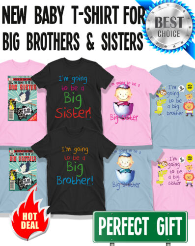 Boys or Girls NEW BABY Brother or Sister T-Shirts Kids Birthday Gift