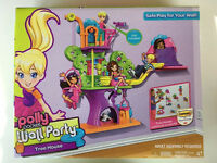 Polly Pocket Wall Party Tree House Playset, Mattel Doll, Kitty & Accessories