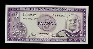 TONGA 5 PA/'ANGA UNCIRCULATED 2008 P-39 SERIAL A 01