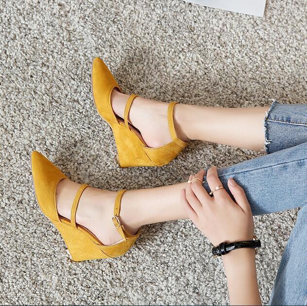 5CM \ 8CM Vogue donna a punta cinturino con fibbia alla caviglia zeppa