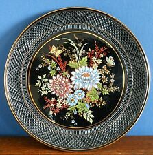 A traditional 24k gold / black floral Greek wall plate by  Lambbrou brothers
