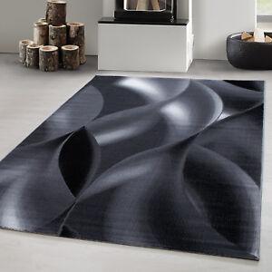 Designer Teppich Modern Kurzflor Abstrakt Wellen Muster Schwarz Grau Weiß