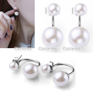 Fashion-Steel-Women-039-s-Silver-Filled-Double-White-Pearl-Ear-Stud-Earrings-Jewelry