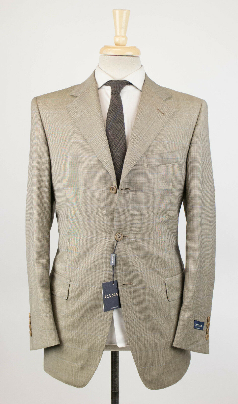 New. CANALI Beige Plaid Wool 3 Button Suit Größe 48/38 R Drop 4 2350