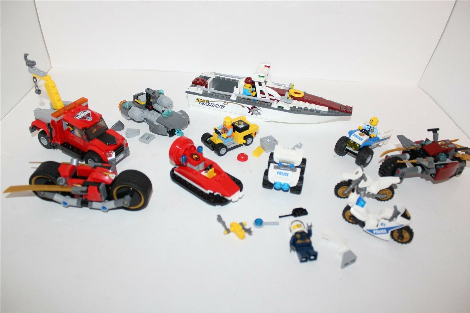 Lego Mixed Bulk Lot Police, Fire, Fishing Boat, Ninjago, City & Mini Figures