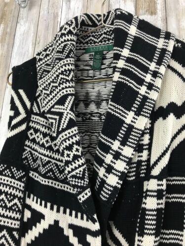 Open Aztec Ralph Vest L Large Tribal Strik Lauren Wrap Trøje White Rare Black w8qztr8