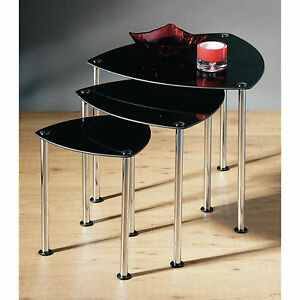 Set-Of-3-Nesting-Home-Coffee-End-Side-Table-Black-Glass-Chrome-Legs-Sideboard
