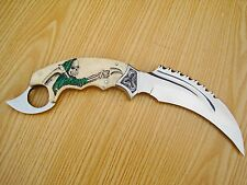 440-C,A CAMEL BONE KARAMBIT OUTDOOR JUNGLE HUNTING SURVIVAL FIGHTING CLAW KNIFE